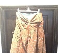Women's Ladies Animal Cotton Strapless Embroidered Dress Size 16 XL Brown Aqua