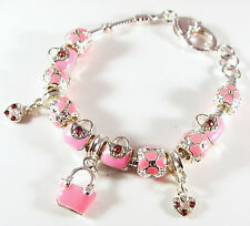 .925 Sterling Plated Pink Enameled Charm Bracelet w Beads Crystals Purses Hearts