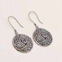 925 Sterling Silver Vintage Fine Shield Earrings Handmade Women Fine Jewelry New