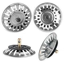 2pc Kitchen Stainless Steel Sink Waste Strainer Plug Drain Stopper Basket Filter