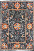 Traditional Hand-Knotted Modern Area Rug Black/Red Oriental Rugs Size (6 x 9)