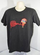 VTG Marca Peru Stitched Peruvian LOGO Picchu Machu Colorful Black T-Shirt Mens L