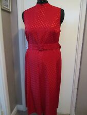 TU Red satin dress with high neckline, size 16 (may suit some 14's). Below knee.