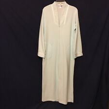 MISS ELAINE Mint Green Plush Terry Cloth Zip Front House Coat Robe - S - EUC