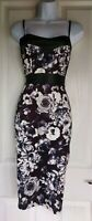 Womens Pink Soda Dress size 12 white black floral pencil party occasion sexy vgc