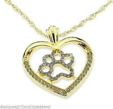 Paw Print Gold Heart Necklace Crystal Chain Dog Puppy Cat New