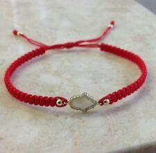Hamsa  Sterling Silver 925 Red Macrame Bracelet Cz Crystals Kabbalah Silver Bar