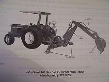 VINTAGE  JOHN DEERE  PARTS  MANUAL -165 BACKHOE - 1980