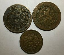 Old Netherlands Antilles/Curacao Coin Lot of 3. Free combined shipping