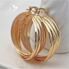 18K Gold Filled Earrings Carving Multilayer Stripe Fashion Ear Stud Hoop Lady DS