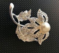 Silver Plated Crystal Rhinestone Pearl Flower Brooch Pin Artsn Crafts Sewing