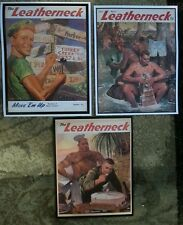 1944 & 1945 Leatherneck Cover Prints- BUY SET OF ALL 3! Gay Bear-Nude Marine-Red