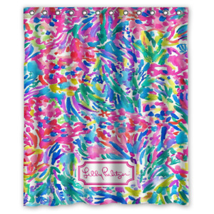 New Lilly Pulitzer Coral Abstract Custom Print Waterproof Fabric Shower Curtain