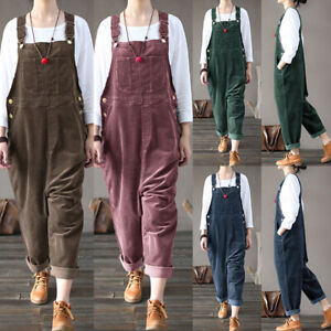 Women Corduroy Dungaree Jumpsuits Playsuits Casual Loose Long Pants Trousers Jy