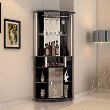 Corner Liquor Cabinet Home Pub Bar Furniture Wine Bottle Storage Stemware Rack