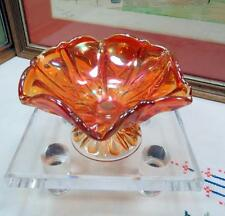 """ANTIQUE IMPERIAL CARNIVAL GLASS PROPELLER MARIGOLD 2 7/8"""" FOOTED COMPOTE 1910"""