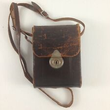 Vintage Brownie Camera Bag Leather Carring Case Adjustable Straps Distressed