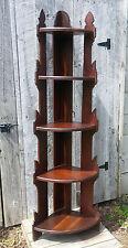 Antique Victorian 19th Century Carved Wooden Eastlake 5 Tier Corner Floor Shelf