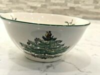 """SPODE CHRISTMAS TREE NUT BOWL 5.5""""  WITH GREEN BORDER TRIM  LOVELY!!"""