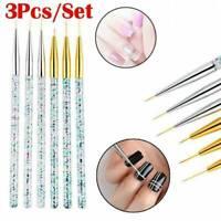 3Pcs/Set Acrylic 3D Painting Drawing UV Gel DIY Brush Pen Tool Nail Art 3 Sizes