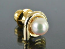 Authentic MIKIMOTO Genuine Akoya 7mm Pearl K14 Yellow Gold Tie Tack Tie-Pin