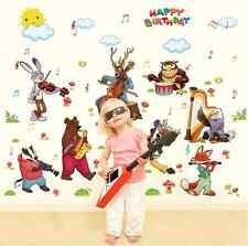ANIMAL Festa di Compleanno Rimovibile Murale Parete In Vinile Autoadesivo Nursery Room UK