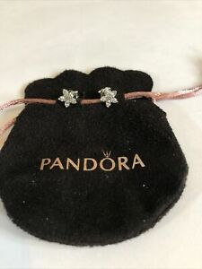 Pandora Sparkling Flower Stud Earrings In Pandora Pouch