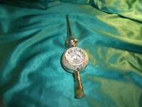 ~ alte kleine Christbaumspitze Glas silber weiß Reflexkugel Baumspitze Vintage ~