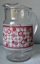 Vintage~ CLEAR GLASS PITCHER ~ Red and White Checked Apple Design ~ Ice Lip