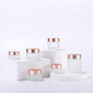 5g-100g Glass Frosted Clear Cosmetic Jars Lotion Cream Balm Storage Container