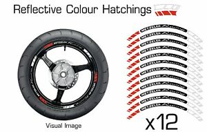 METZELER RED REFLECTIVE MOTORCYCLE WHEEL TAPE STICKERS RIM STICKER VINYL 029