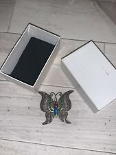 Vintage Silver Stamped Hallmarked Butterfly Brooch Pin Multicolour