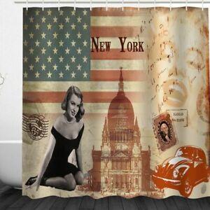 Shower Curtain Retro American Flag Design Waterproof Fabric 72 inch 12 Hooks
