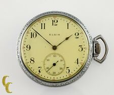 Nickel Elgin Antique Open Face Pocket Watch Grade 302 Size 12 15 Jewel