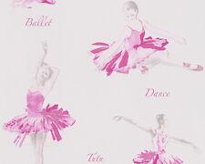 Ballet Ballerina Dance Girl Wallpaper Cream Pink Glitter Metallic Children Tutu