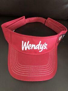 Wendy's Red Visor Cap Dave Thomas Foundation Employee Uniform Adjustable VGC