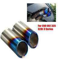 Pair Car Tail Exhaust Tip Pipes Grilled Blue For BMW E90 E92 325 328i 3 Series