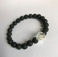bd6fbbf2b2c4 Mens Natural Lava stone   Clear swarovski Crystal Skull Bracelet Healing  Stone
