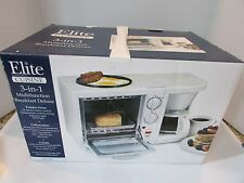 ELITE CUISINE BREAKFAST DELUXE COOKER 3'N1 WHITE TOASTER/OVEN/COFFEE/GRIDDLE L3