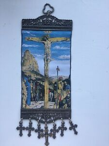 Christ on the Cross, Crucifixion of Jesus, Tapestry Wall Hanging with Crosses