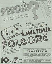 J0345 Lama Italia FOLGORE - Pubblicità formato grande del 1936 - Old advertising