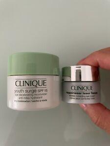 NEW 2 items Clinique repairwear eye cream & youth surge moisturiser RRP £24