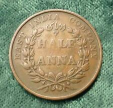 1835 East Indian Company Half Anna Coin, Copper Bombay Mint 1/2 Anna Coin