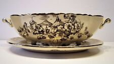 Antique Crown Pottery Longton Transferware Serving Bowl & Platter 1893 John Tams