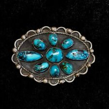 "Sterling Silver & Turquoise Navajo Belt Buckle, Old Pawn/Estate, 2""x2.75"""