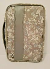 Flower Cloth Bible Cover Case With Zipper Handle Vinyl Inside