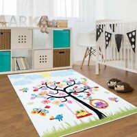 Kinder-teppich Moderer Flachflor Teppich Baummuster Vögel Sonne Schaukel Eulen