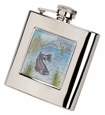 Pewter reel or Stainless Steel hip flask & funnel for fly fishing salmon trout