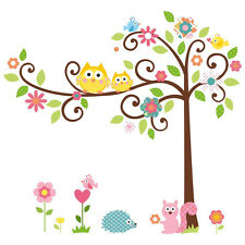 Mural Wall Stickers Owl Tree Squirrel Removable Decal Decor Kids Baby Room Art