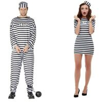 Adult Men's Women's Convict Fancy Dress Costume Robber Prisoner Police Stag Hen